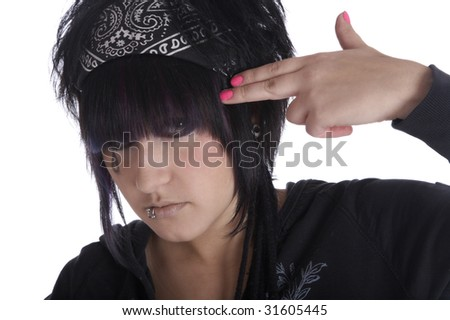 The girl wants to kill itself a finger - stock photo