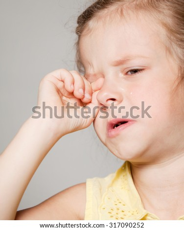 the girl was crying - stock photo