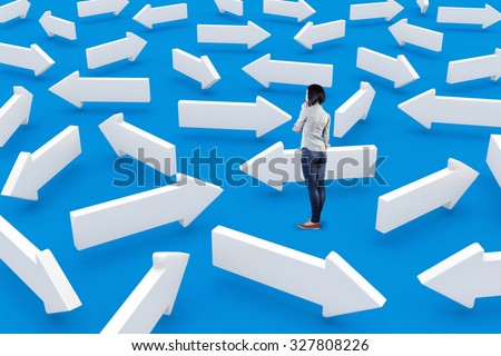 The girl was lost and did not know which way to go - stock photo