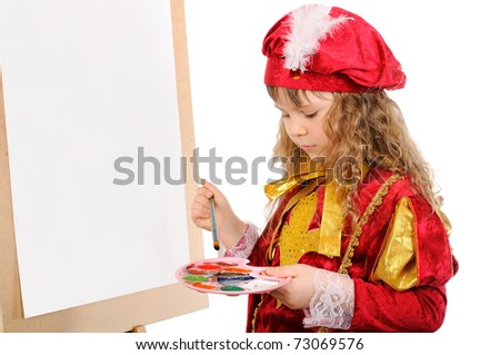 The girl with a brush near an easel. Isolated on white - stock photo