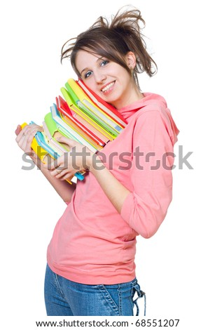 The girl with a heap of books on a white background