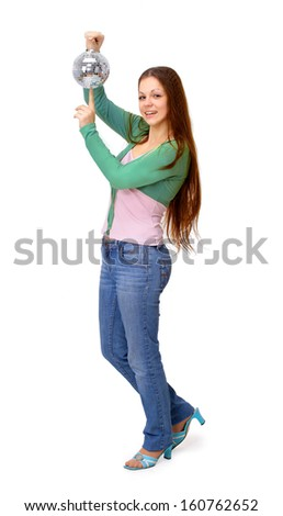 The girl with a mirror sphere on a white background - stock photo