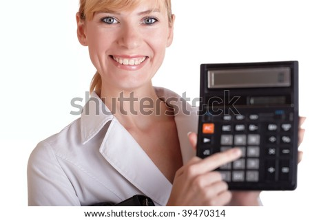 The girl with a smile holds in a hand the calculator on a white background