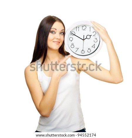 The girl with clock on a shoulder on a white background - stock photo