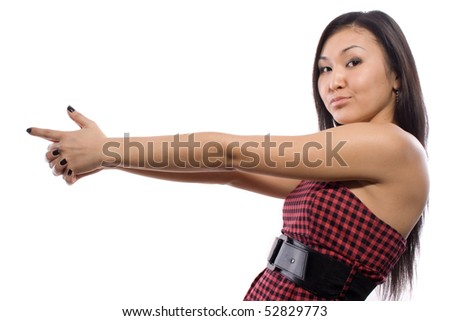 The girl with outstretched arms - stock photo