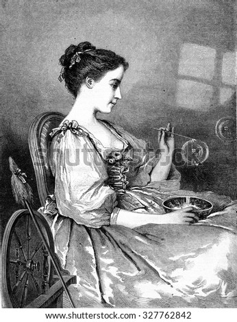 The Girl with soap bubble, vintage engraved illustration. Magasin Pittoresque 1867.