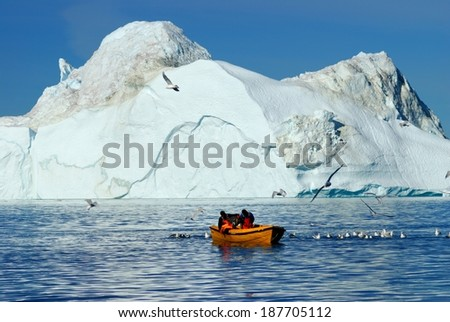 The glacier at Ilulissat in Greenland is the most productive in the world. Calving huge gicebergs into the Atlantic it is regarded as an important measure of the progress of global warming.  - stock photo