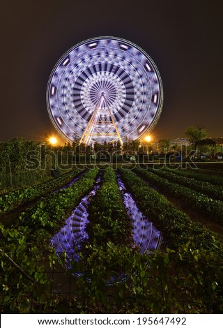 The glamorous night of Ferris Wheel and Farmland in park of Nanning,Guangxi,China - stock photo