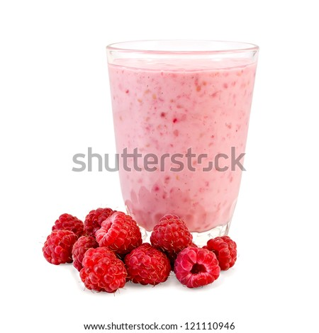 The glass of milkshake, raspberry isolated on white background - stock photo