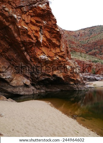 The Glen  Helen gorge in the West mcdonnell ranges in the northern Territories in Australia - stock photo