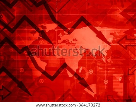the global crisis - red background concept illustration - stock photo