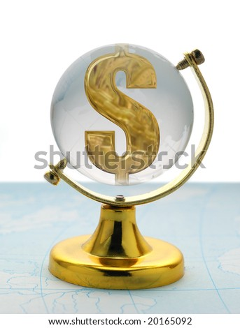 The globe and dollar - stock photo