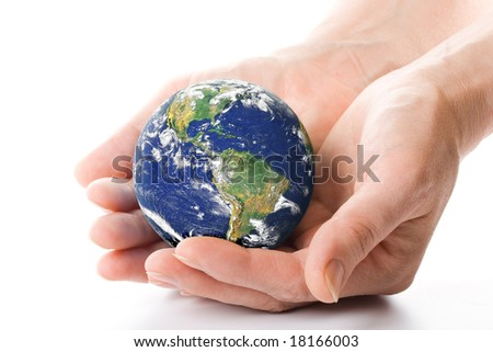 The globe in hands. Concept for environment conservation. - stock photo