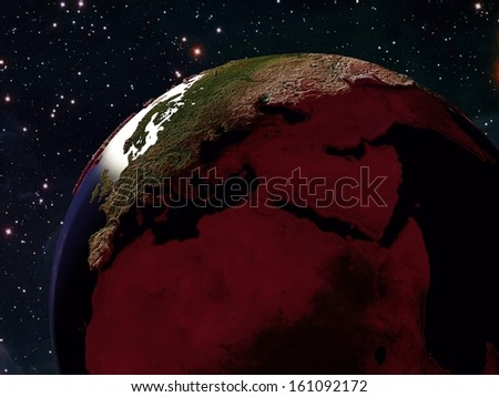 "The globe in the night sky.   ""Elements of this image furnished by NASA"" - stock photo"