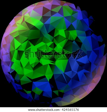 The globe of many pieces, triangles, Globe like a mosaic, Globe icon, mosaic map, abstract globe icons, business and social networks concept, planet earth, 3d - stock photo