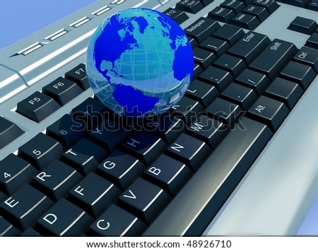 The globe on the computer keyboard