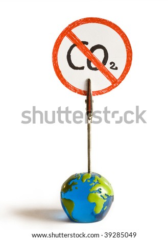 the globe says no more co2  on a white background - stock photo