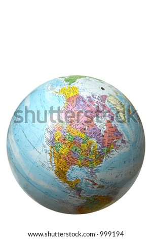 The globe with United States of America