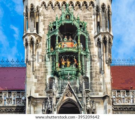 The Glockenspiel at Marienplatz, Munich, Germany - stock photo