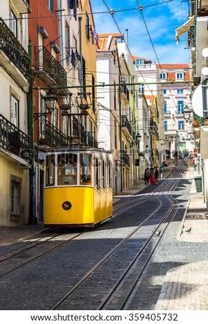 The Gloria Funicular in the city center of Lisbon, Portugal in a summer day