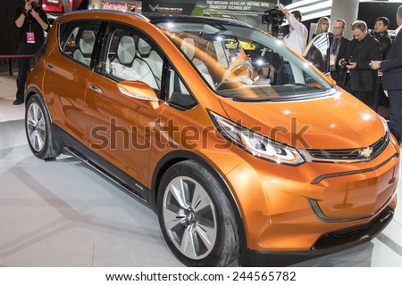 The 2016 GM Bolt hybrid  at The North American International Auto Show January 12, 2015 in Detroit, Michigan. - stock photo