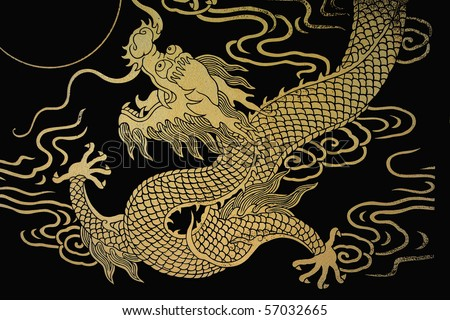 The gold dragon 8 - stock photo