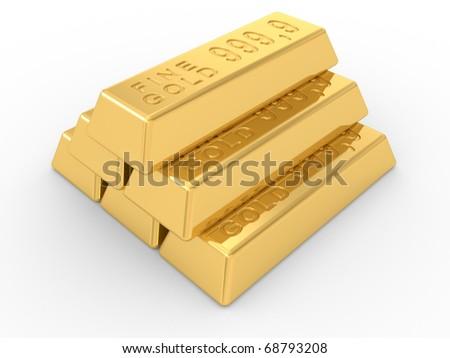 the gold ingots on a white background - stock photo