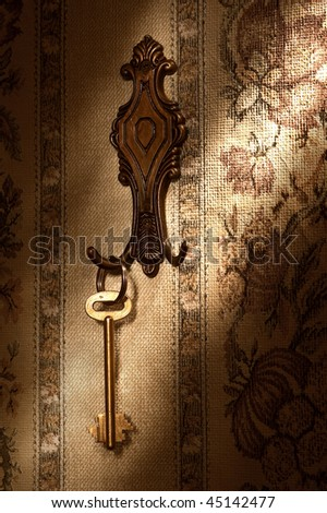 The gold key hanging on a hook - stock photo