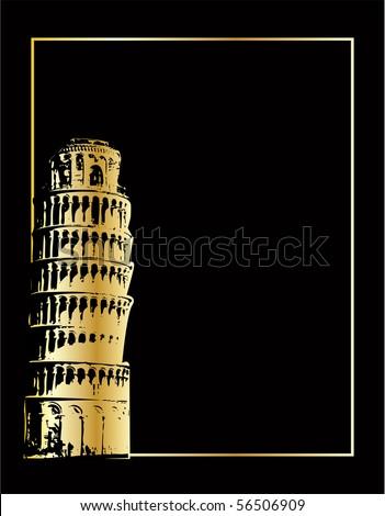 the gold pisa tower on black (vector version in portfolio) - stock photo