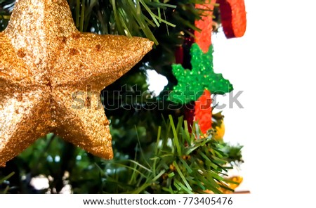 The Gold star is decorated with christmas trees to celebrate the festival of happiness.