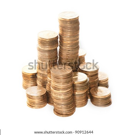 The gold towers made of the coins on the white background