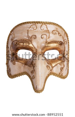 The golden carnival mask with a nose on a white background - stock photo