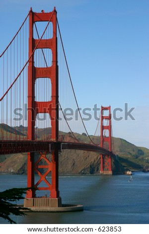 The Golden Gate Bridge as viewed from the Presidio. - stock photo