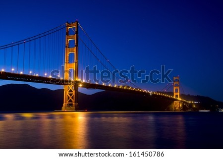 The Golden Gate Bridge at dusk as seen from Crissy Field in San Francisco.