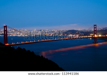 The Golden Gate bridge at night - San Francisco - USA - stock photo