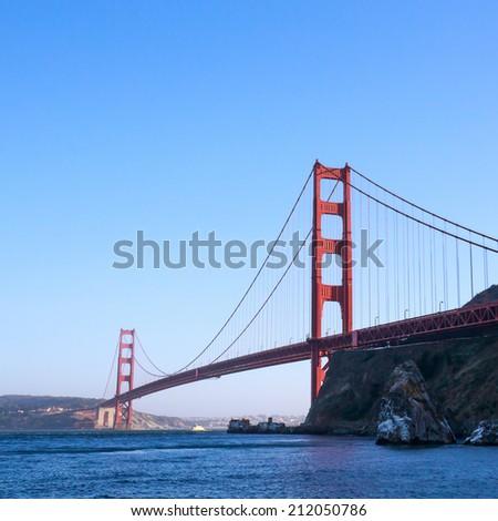 The Golden Gate Bridge at sunset - stock photo