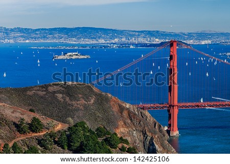 The Golden Gate Bridge, Fort Point, Oakland and Alcatraz - stock photo