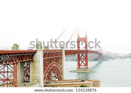 The Golden Gate bridge in a foggy day, San Francisco, USA, - stock photo