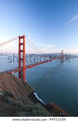 The Golden Gate Bridge in San Francisco bay at twilight - stock photo