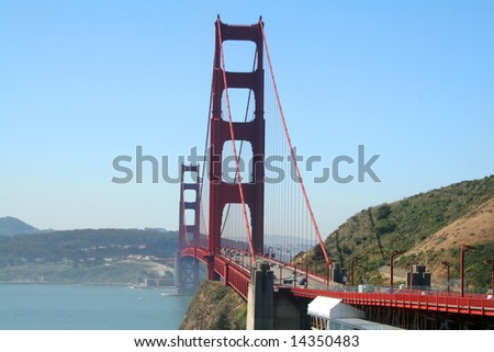 The Golden Gate Bridge in San Francisco on a clear day.