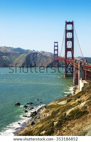 The Golden Gate Bridge in San Francisco summer morning
