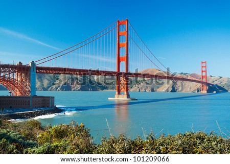 The Golden Gate Bridge in San Francisco with beautiful blue ocean in background - stock photo