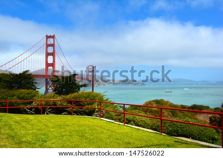 The Golden Gate Bridge in the Summertime in San Francisco, California USA - stock photo