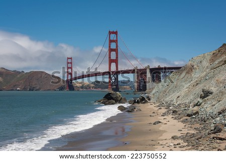 The Golden Gate Bridge view from the beach, San Francisco