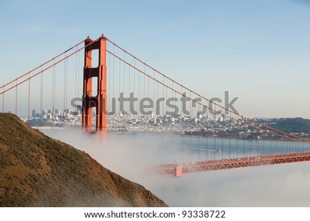 The Golden Gate in a Fog Bank - stock photo
