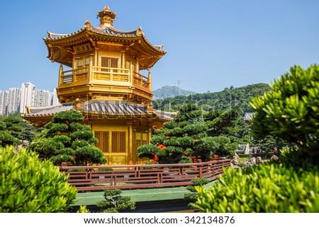 The Golden Pavilion of Perfection in Nan Lian Garden - stock photo