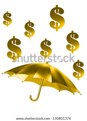 the golden rain of dollar signs - stock photo