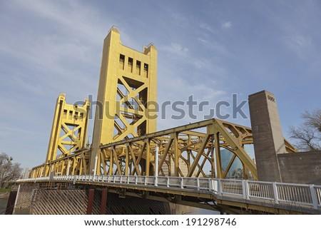 The Golden Tower Bridge at Sacramento, USA - stock photo