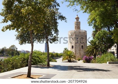 The Golden Tower (Torre del Oro) in Seville, Andalusia, Spain.
