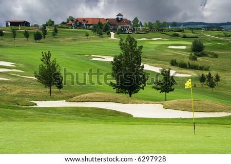 the golf course in Karlstejn - Czech Republic - stock photo